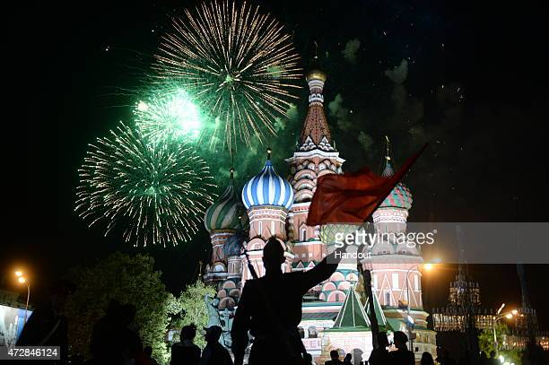 In this handout image supplied by Host photo agency / RIA Novosti fireworks mark the 70th anniversary of Victory in the 19411945 Great Patriotic War...