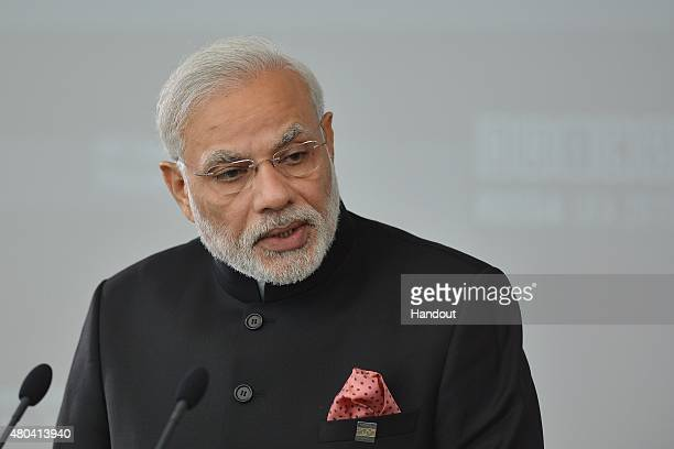 In this handout image supplied by Host Photo Agency / RIA Novosti Narendra Modi Prime Minister of the Republic of India at a meeting of BRICS leaders...
