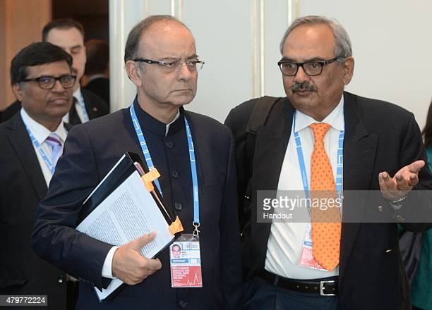 In this handout image supplied by Host Photo Agency / RIA Novosti Minister of Finance of the Republic of India Arun Jaitley ahead of the BRICS...