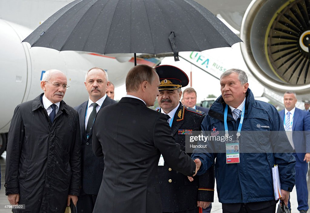 In this handout image supplied by Host Photo Agency / RIA Novosti, President of the Russian Federation Vladimir Putin arrives in Ufa for the BRICS/SCO Summits - Russia 2015 on July 08, 2015 in Ufa, Bashkortostan, Russia.