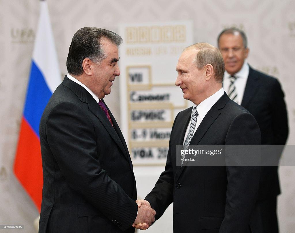 In this handout image supplied by Host Photo Agency / RIA Novosti, President of the Russian Federation Vladimir Putin (R) meets President of the Republic of Tajikistan Emomali Rakhmon during the BRICS/SCO Summits - Russia 2015 on July 08, 2015 in Ufa, Bashkortostan, Russia.