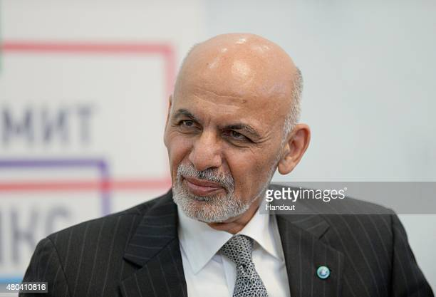 In this handout image supplied by Host Photo Agency / RIA Novosti President of the Islamic Republic of Afghanistan Ashraf Ghani Ahmadzai during a...