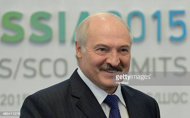 In this handout image supplied by Host Photo Agency / RIA Novosti, President of the Republic of Belarus Alexander Lukashenko during a meeting with...