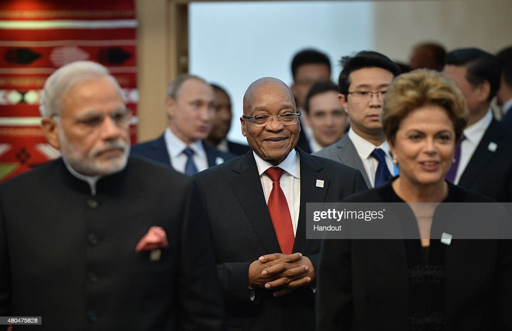In this handout image supplied by Host Photo Agency / RIA Novosti, Foreground, (L-R) Prime Minister of the Republic of India Narendra Modi, President of the Republic of South Africa Jacob Zuma, and President of the Federative Republic of Brazil Dilma Rousseff at a BRICS leaders limited attendance meeting during BRICS/SCO Summits - Russia 2015 on July 10, 2015 in Ufa, Russia.