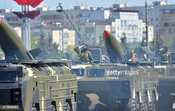In this handout image supplied by Host photo agency / RIA Novosti Tochka tactical ballistic missiles during the celebration of the 70th anniversary...