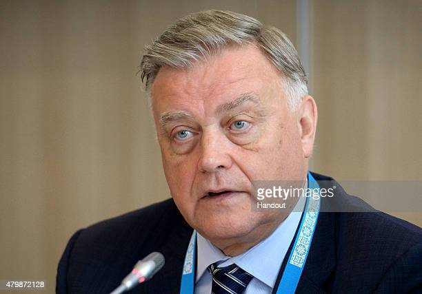 In this handout image supplied by Host Photo Agency / RIA Novosti, Vladimir Yakunin, President, Russian Railways, attends the BRICS Business Council...