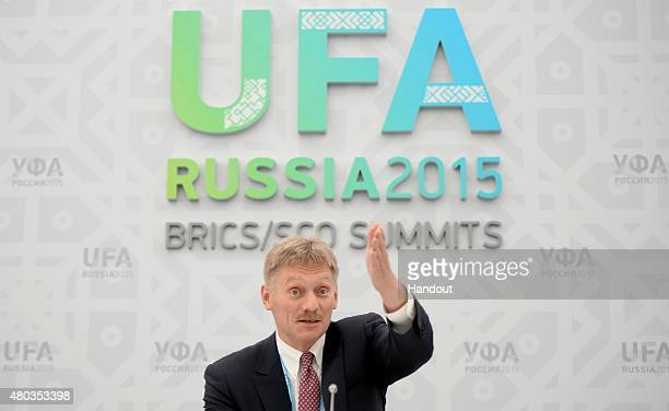 In this handout image supplied by Host Photo Agency / RIA Novosti Russian Presidential PressSecretary Dmitry Peskov at a briefing on the results of...