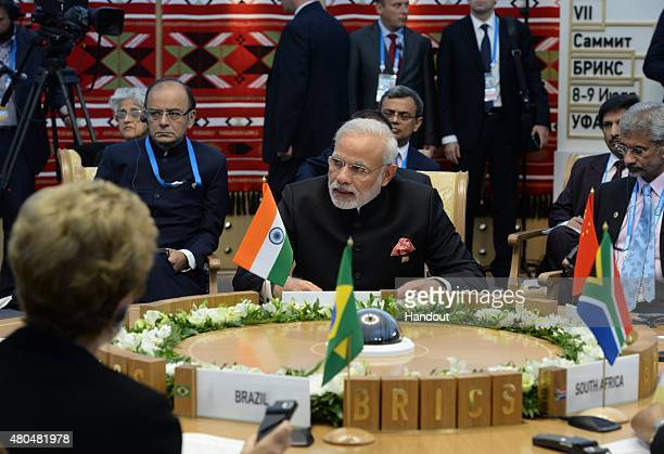 In this handout image supplied by Host Photo Agency / RIA Novosti Prime Minister of the Republic of India Narendra Modi at a BRICS leaders limited...