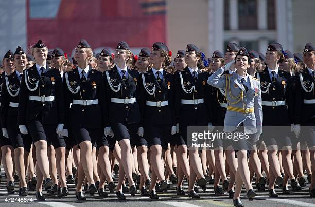 In this handout image supplied by Host photo agency / RIA Novosti Ceremonial unit soldiers during the military parade to mark the 70th anniversary of...
