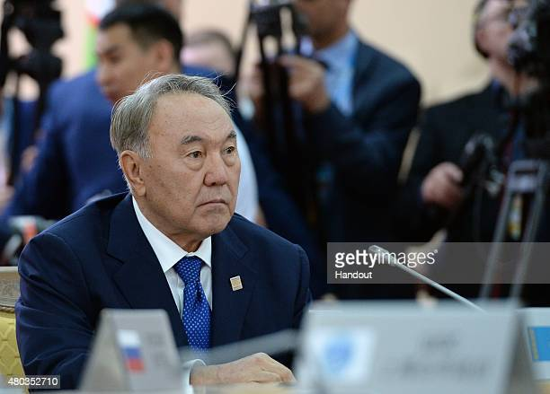 In this handout image supplied by Host Photo Agency/RIA Novosti, President of the Republic of Kazakhstan Nursultan Nazarbayev at a limited attendance...
