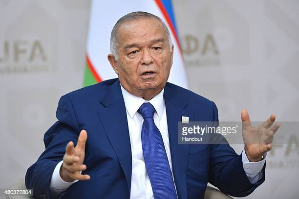 In this handout image supplied by Host Photo Agency/RIA Novosti President of Uzbekistan Islam Karimov at a bilateral meeting with President of the...