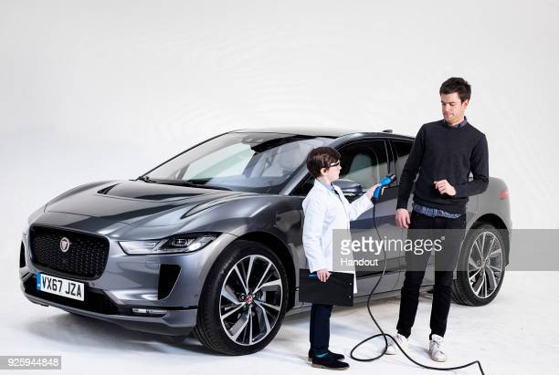 In this handout image supplied by Jaguar Land Rover British Actor and comedian Jack Whitehall unveils the allelectric Jaguar IPACE in a live global...