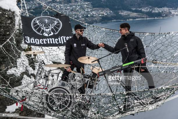 In this handout image supplied by Jägermeister Pat Lundy and Josh Friend of London band Modestep perform a thrilling Jägermeister Ice Cold Gig...