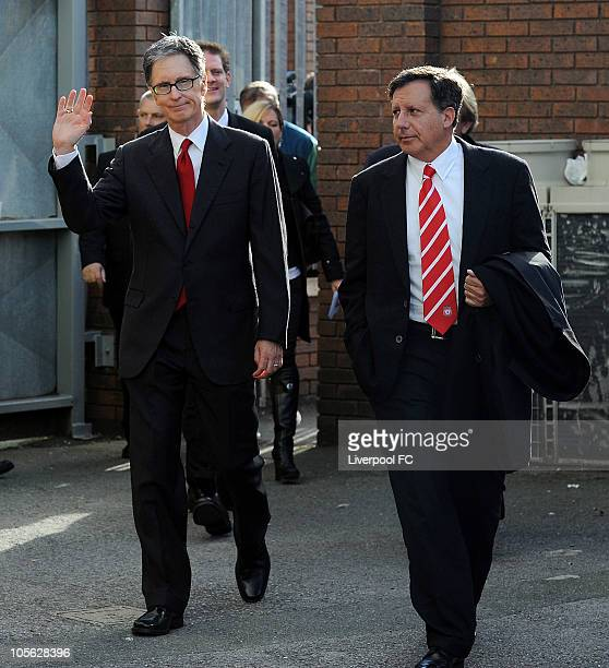 In this handout image supplied by Liverpool Football Club, John W Henry and Thomas Werner the new owners of Liverpool Football Club from NESV arrive...