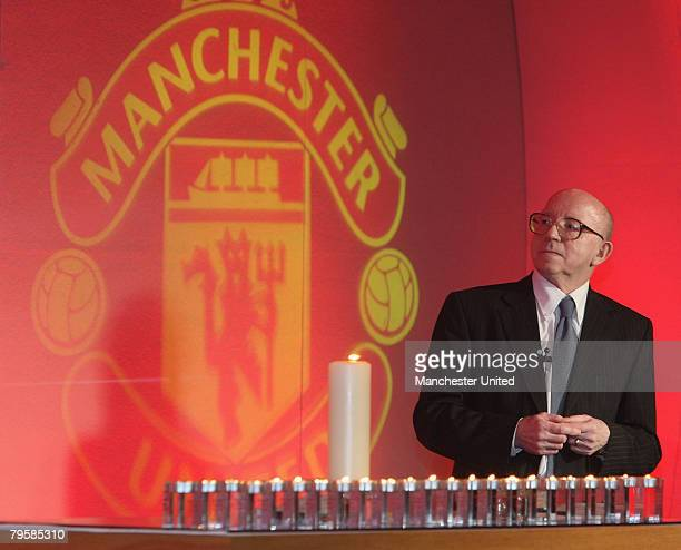 In this handout image supplied by Manchester United, Nobby Stiles of Manchester United speaks during the memorial service to mark the 50th...