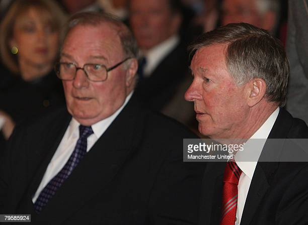 In this handout image supplied by Manchester United Sir Alex Ferguson and Albert Scanlon of Manchester United attend the memorial service to mark the...