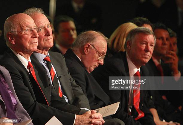 In this handout image supplied by Manchester United Sir Bobby Charlton Harry Gregg and Albert Scanlon of Manchester United attend the memorial...