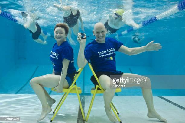 In this handout image supplied by Marie Carie Cancer Care Gail Porter and Duncan Goodhew launch Swimathon 2011 in aid of Marie Curie Cancer Care at...