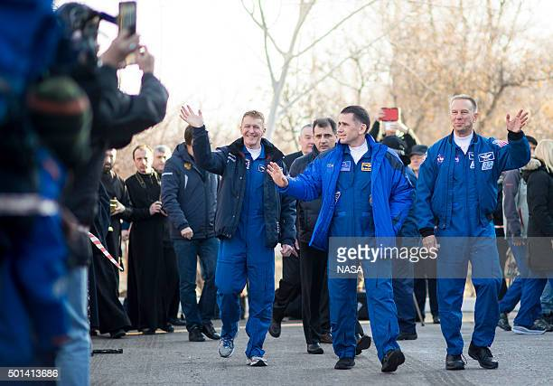 In this handout image supplied by NASA Expedition 46 Flight Engineer Tim Peake of ESA left Soyuz Commander Yuri Malenchenko of the Russian Federal...