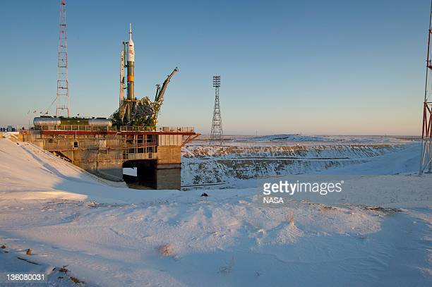 In this handout image supplied by NASA the Soyuz TMA03M spacecraft is seen at the launch pad after being raised into vertical position on December 19...