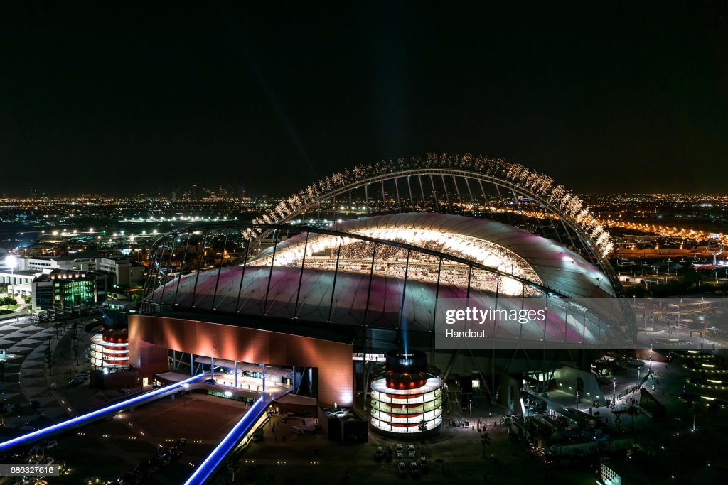 In this handout image supplied by Qatar 2022, Fireworks over Khalifa International Stadium during the official opening ceremony of Khalifa International Stadium on May 19, 2017 in Doha, Qatar. Qatar's Supreme Committee for Delivery & Legacy launches Khalifa International Stadium, the first completed 2022 FIFA World Cup venue, five years before the tournament begins.