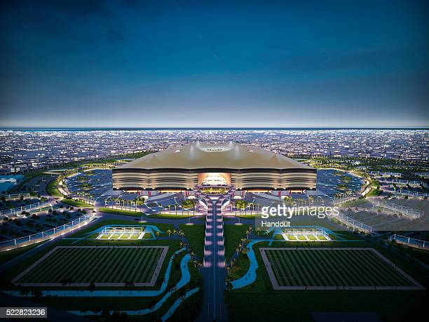 In this handout image supplied by Qatar 2022 is an artist's impression of the Al Bayt StadiumAl Khor City a host venue for the 2022 FIFA World Cup...