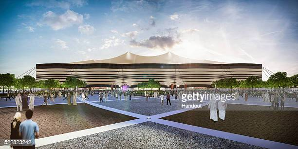 In this handout image supplied by Qatar 2022, is an artist's impression of the Al Bayt Stadium, Al Khor City, a host venue for the 2022 FIFA World...