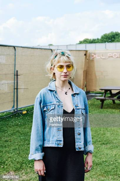 In this handout image supplied by RayBan Imogen Poots wearing RayBan poses at the RayBan Studios during All Points East Festival at Victoria Park on...