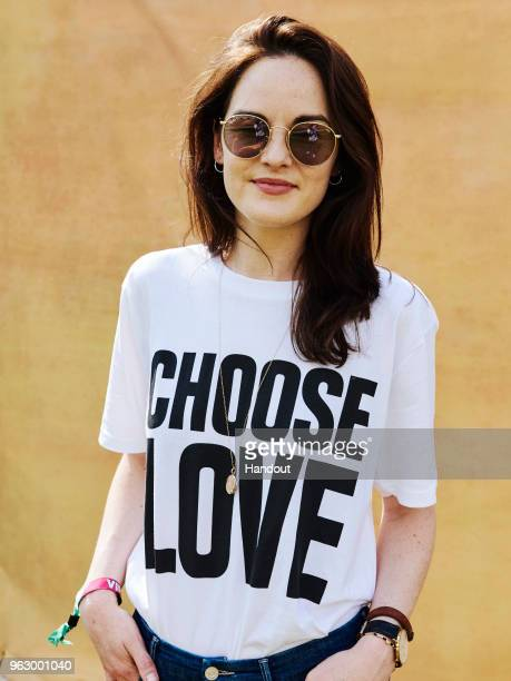 In this handout image supplied by RayBan Michelle Dockery wearing RayBan poses at the RayBan Studios during All Points East Festival at Victoria Park...