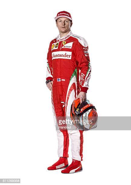 In this handout image supplied by Scuderia Ferrari driver Kimi Raikkonen of Finland poses in the team's new overalls for the 2016 FIA Formula One...