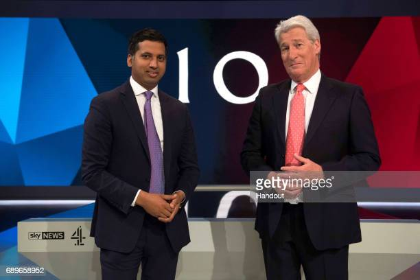 In this handout image supplied by Sky, Sky News' Political Editor, Faisal Islam, and Channel 4's Jeremy Paxman rehearse on set ahead of the live...