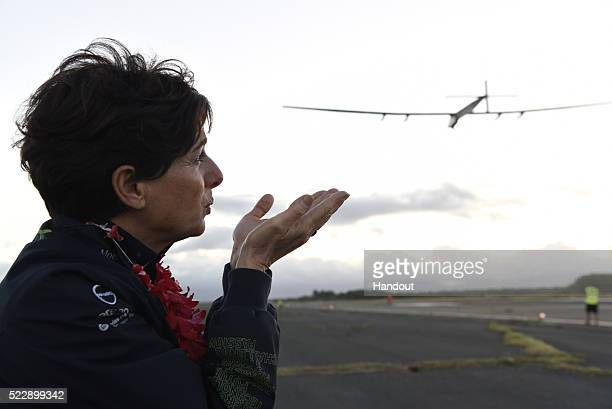 O'AHU HAWAII APRIL 21In this handout image supplied by Solar Impulse 2/GNR Michele Piccard Head of Corporaty identity sends a kiss to her husband...