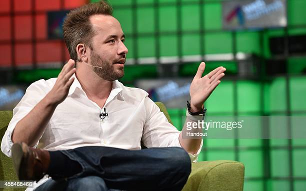 In this handout image supplied by Sportsfile Drew Houston Founder Dropbox speaking during the web summit for careers during Day 2 of the 2014 Web...