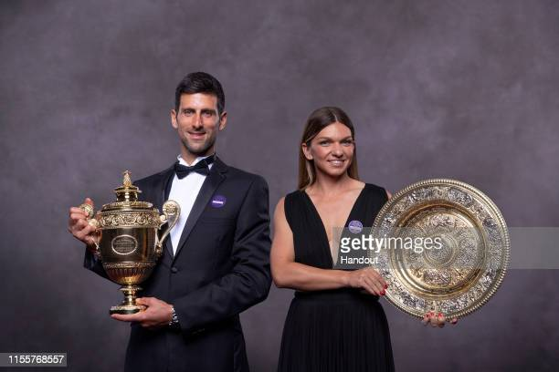 In this handout image supplied by the All England Lawn Tennis Club Simona Halep of Romania and Novak Djokovic of Serbia the Ladies Singles and...