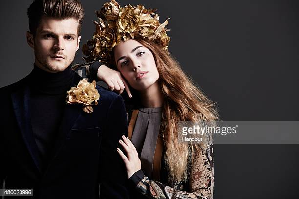 In this handout image supplied by The British Heart Foundation vlogger Jim Chapman and model Amber Le Bon pose as they are announced as the faces of...