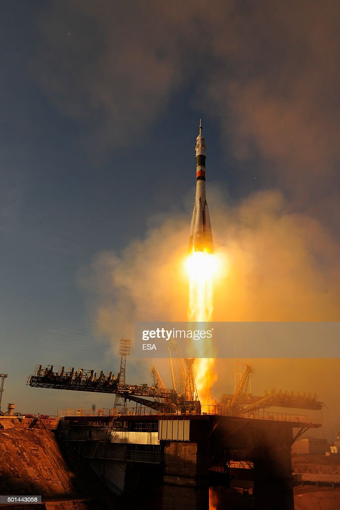 In this handout image supplied by the European Space Agency (ESA), Expedition 46-47 crewmembers ESA astronaut Tim Peake, NASA astronaut Tim Kopra and commander Yuri Malenchenko launch into space from Baikonur cosmodrome on December 15, 2015 in Baikonur, Kazakhstan. Soyuz TMA-19M is carrying crew members Soyuz Commander Yuri Malenchenko of the Russian Federal Space Agency (Roscosmos), Flight Engineer Tim Kopra of NASA, and Flight Engineer Tim Peake of ESA (European Space Agency) to the International Space Station for a six-month mission, as part of Expedition 46.