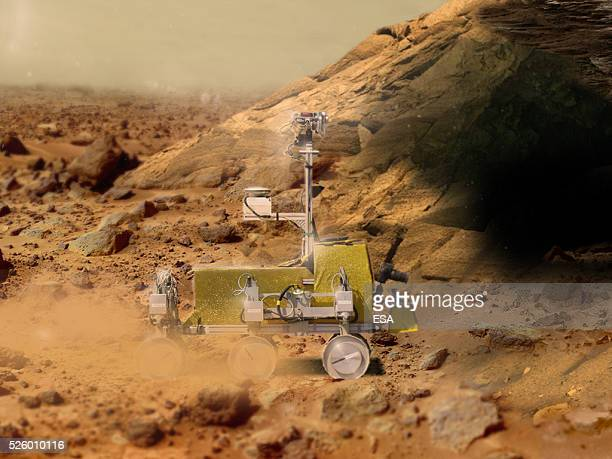 In this handout image supplied by the European Space Agency 'Bridget' the rover is pictured in the Mars Yard Test Area at Airbus DS in Stevenage UK...