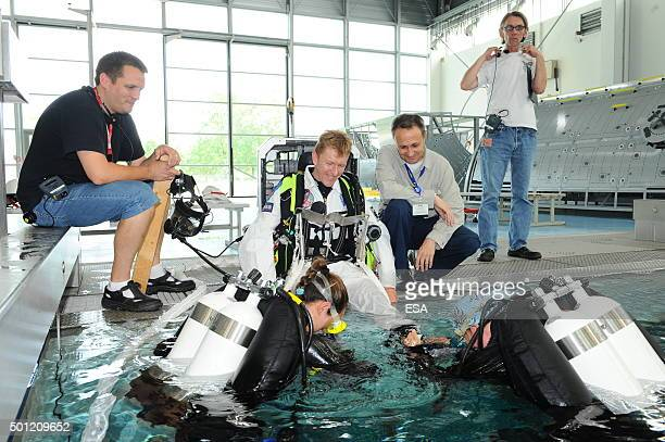 In this handout image supplied by the European Space Agency British ESA astronaut Major Timothy Peake takes part in EVA prefamiliarisation training...