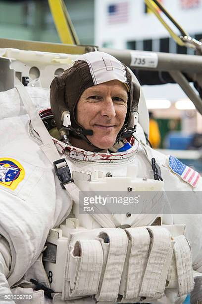 In this handout image supplied by the European Space Agency British ESA astronaut Major Timothy Peake takes part in spacewalk training at NASA's...