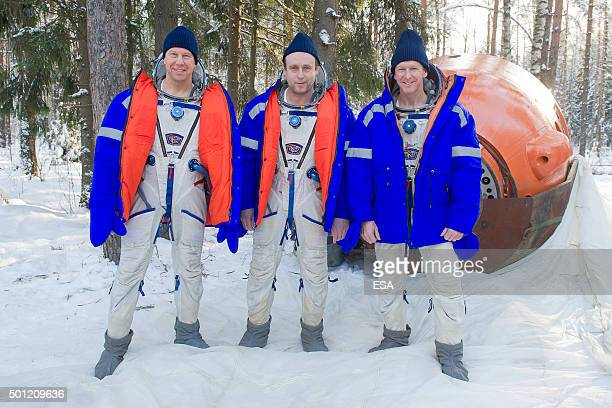 In this handout image supplied by the European Space Agency ESA astronaut Timothy Peake Russian cosmonaut Sergei Zalyotin and Timothy Kopra of NASA...
