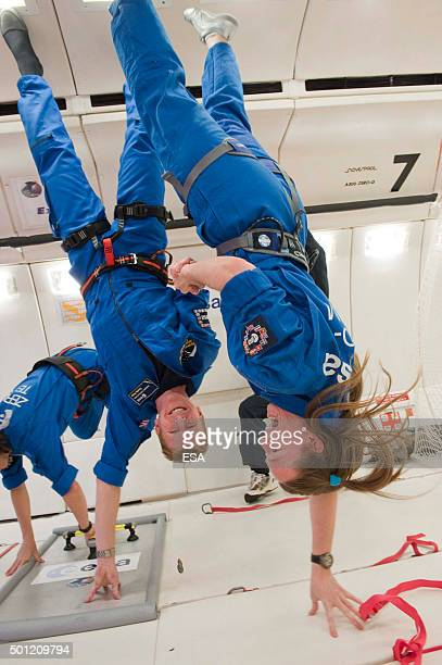 In this handout image supplied by the European Space Agency ESA astronaut Tim Peake and EAC Instructor Gail Iles during a parabolic flight aboard the...