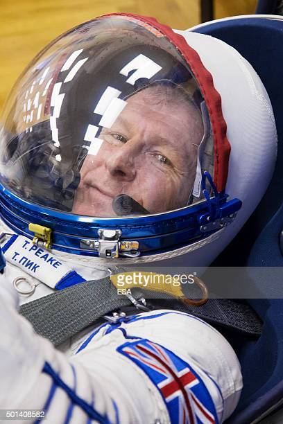 In this handout image supplied by the European Space Agency ESA astronaut Tim Peake testing his Sokol pressure suit and Soyuz spacecraft seat in...