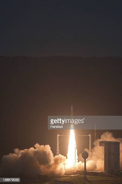 In this handout image supplied by the European Space Agency Liftoff of Vega VV01 from Europe's Spaceport on February 13 2012 in Kourou French Guiana...