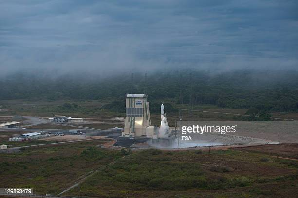 In this handout image supplied by the European Space Agency Soyuz VS01 is lifts off at the European Spaceport on October 21 2011 in Kourou French...