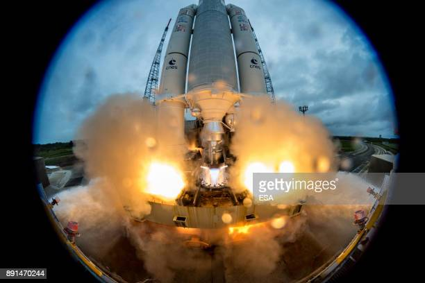 In this handout image supplied by the European Space Agency The Ariane 5 Flight VA240 lifts off from Europe's Spaceport carrying Galileo satellites...