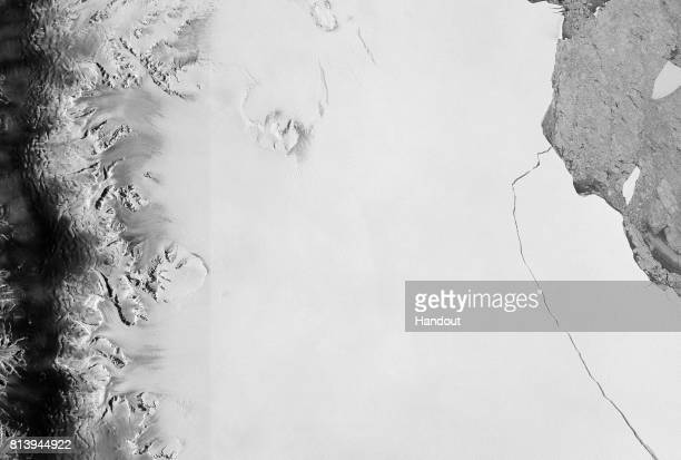 In this handout image supplied by the European Space Agency witnessed by the Copernicus Sentinel1 mission on July 12 a lump of ice more than twice...