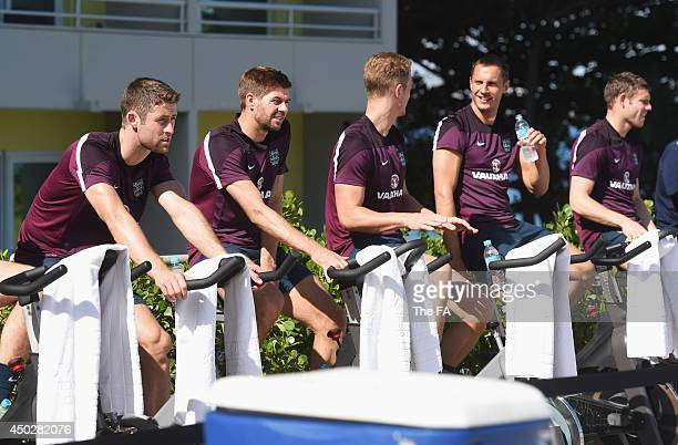 In this handout image supplied by the FA, Gary Cahill, Steven Gerrard, Joe Hart, Phil Jagielka and James Milner of England take part in a recovery...