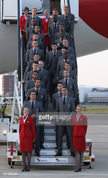 In this handout image supplied by the FA the England World Cup 2010 squad pose for a team photograph as they prepare to leave for South Africa at...