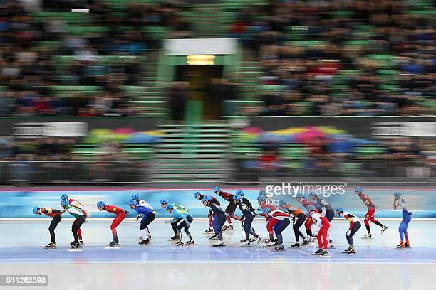 In this handout image supplied by the IOC Athletes compete during the Men's Speed Skating Mass Start at the Hamar Olympic Hall Viking Shipon day...