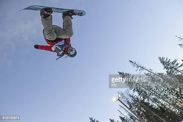 In this handout image supplied by the IOC Chloe Kim of the United States competes in the Ladies' Snowboard Halfpipe Finals at Oslo Vinterpark...
